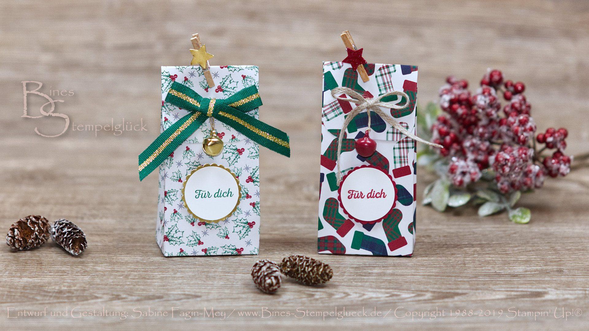 """Weihnachtliche Geschenktüte """"Festliche Karos"""" mit Stampin' Up! Produkten"""