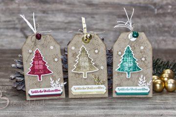 Klassischer Geschenkanhänger zu Weihnachten mit Stampin' Up! Produkten