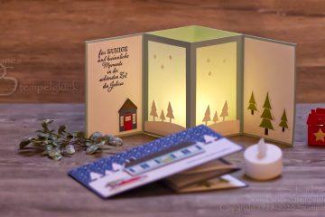 """Weihnachtliche Teelichtkarte """"Adventsstädtchen"""" mit Stampin' Up!"""