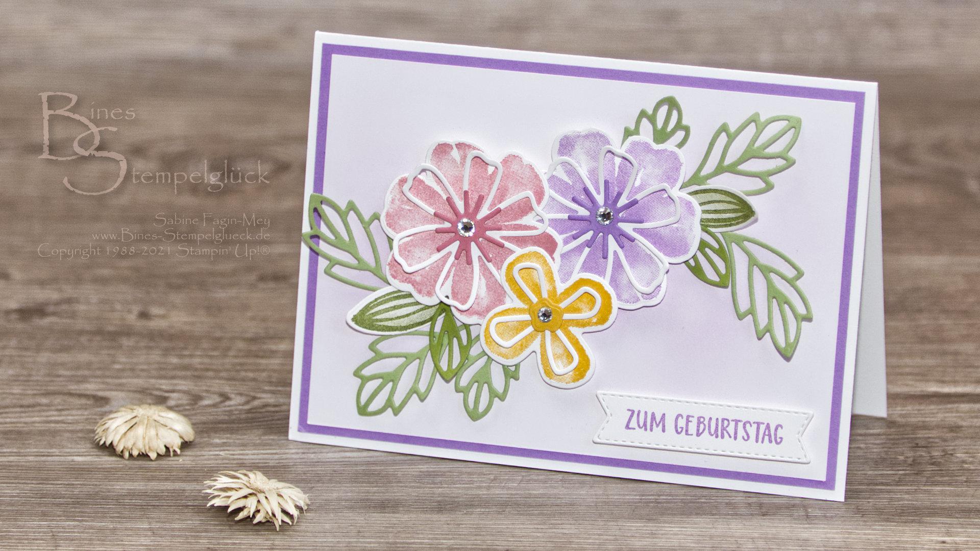 Geburtstagskarte Blumen voller Freude mit Stampin' Up!