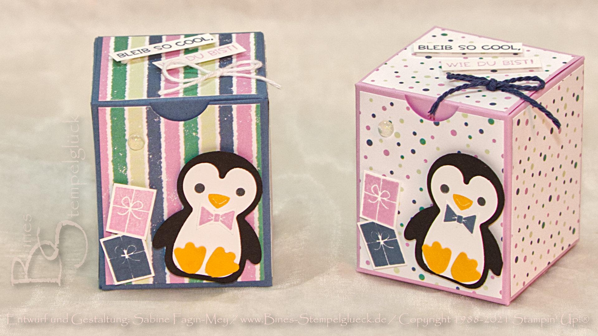 Lustige Pinguin-Box mit Stampin' Up!