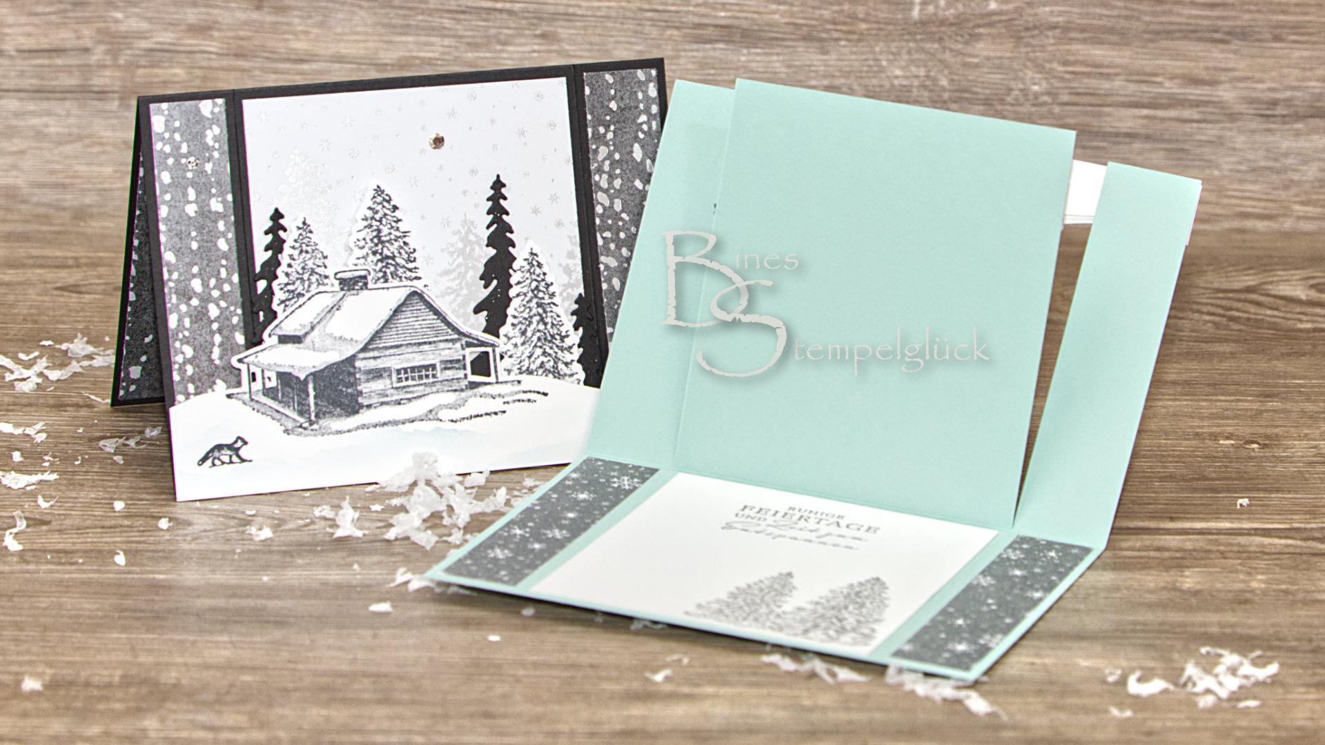 Weihnachtliche Winterlandschaft in 3D mit Stampin' Up!